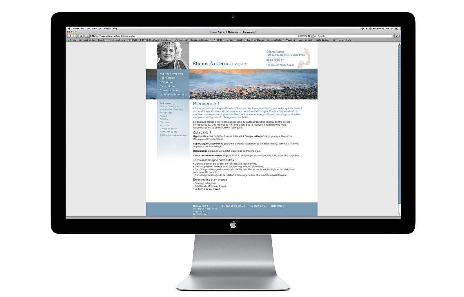 Webdesign pour le site d'Elian Autran thérapeute