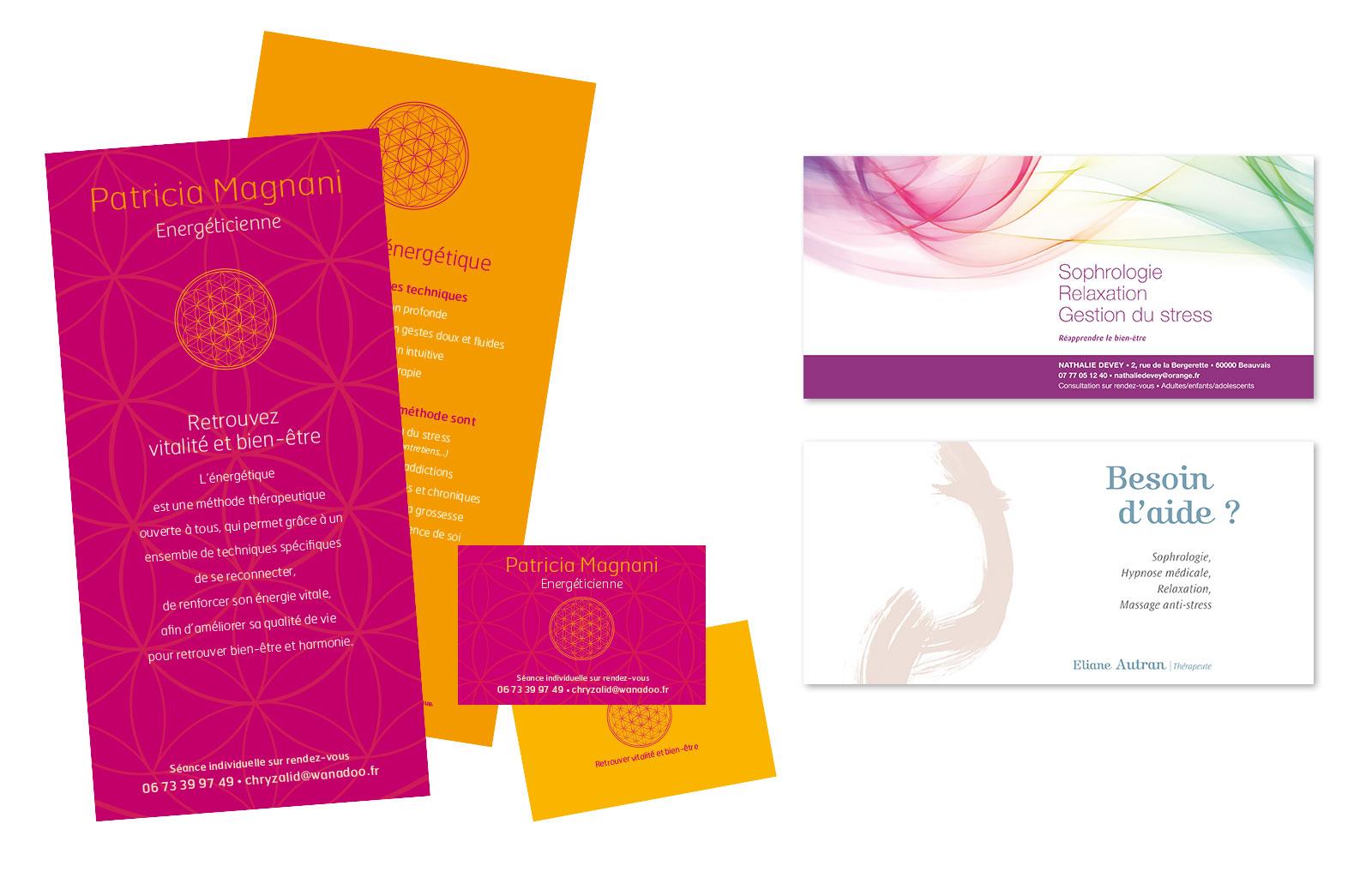 BIEN-ETRE > Conception graphique de flyer, carte, web design pour différents praticiens