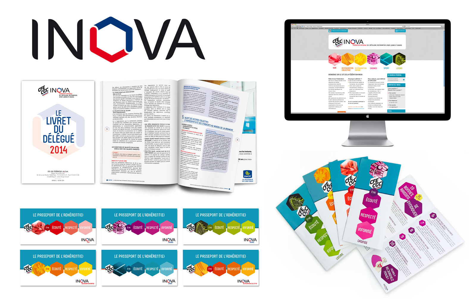 INOVA > Conception de la charte graphique, du logo, webdesign et divers documents print (livrets, guide syndical...)