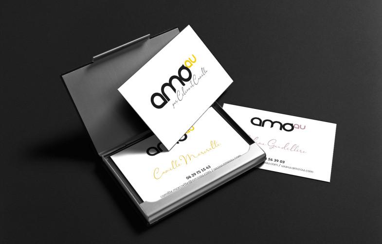 Conception de l'identité visuelle de l'agence AMOau